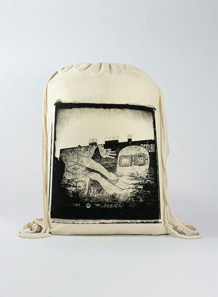 "Officine Berlinesi Gym bag ""Blu 1"" with handmade screen print of Berlin street art"