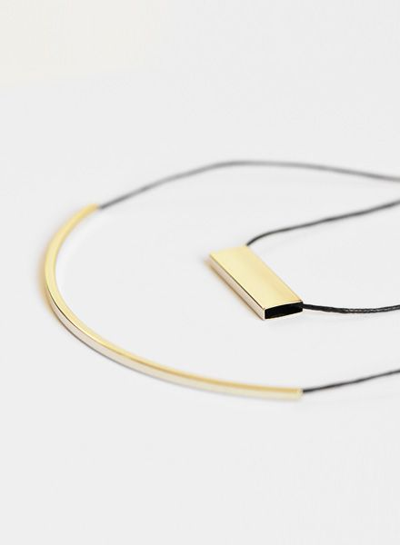 Studio Na.hili Long tube necklace I White or yellow gold