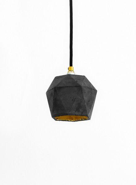 """GANTlights Hängelampe """"TRIANGLE T2"""" hergestellt aus Beton - Innenseite vergoldet"""