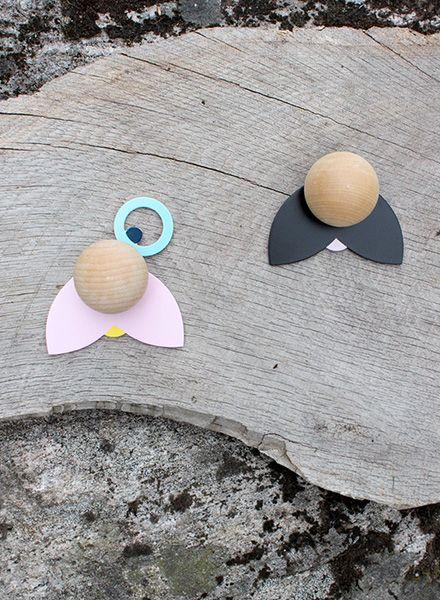 "Jäll & Tofta Wall hooks ""Hatschi"" I Set of 2 funny wooden hooks"