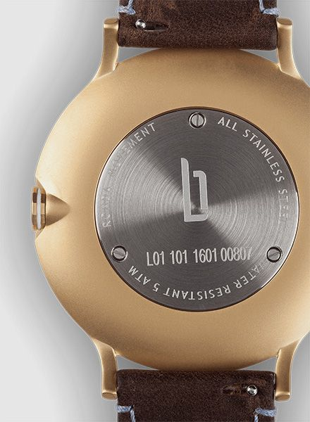 """Lilienthal Armbanduhr L1 gold I Designed in Berlin - """"Made in Germany"""""""