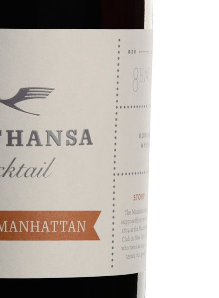 """Lufth. Cocktail Lufthansa Cocktail """"White Manhattan"""" - First class cocktails, aged in a bottle, ready to serve"""