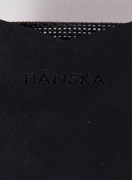 Hänska Kartenhalter aus Leder und Netzgewebe in zwei Farben