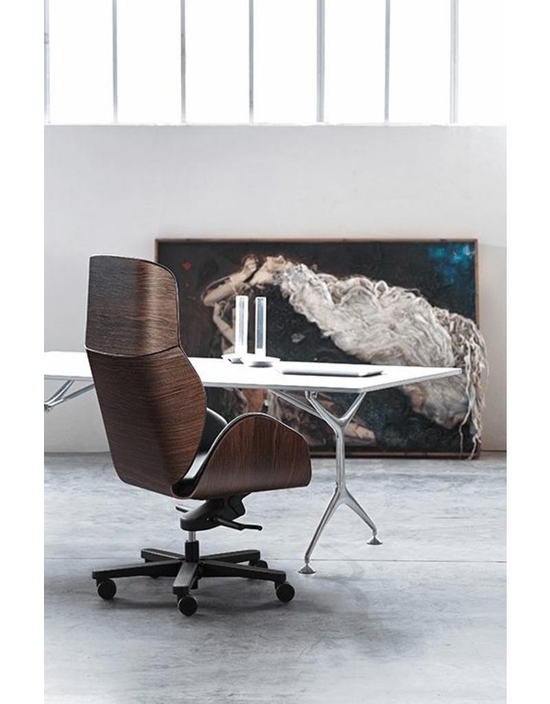 Vaghi Vaghi Suoni luxe bureaustoel met houten rug