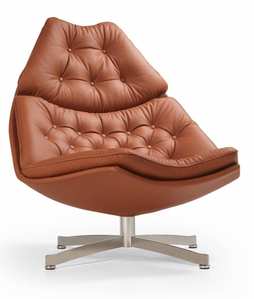 Leren Lounge Fauteuil.Artifort F 587 Leren Lounge Chair