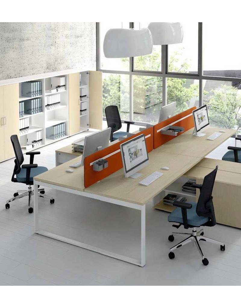 MDD MDD Ogi-Q 2-persoons bureaueiland met dressoir (excl. privacy screens)