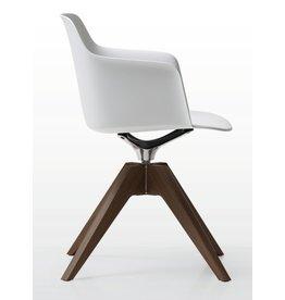Quinti Quinti Deep Plastic stoel met houten frame