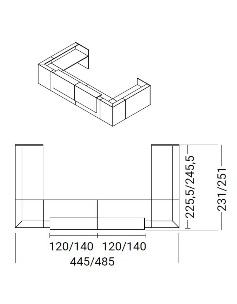 Officity Officity Z2 U-vorm modulaire receptiebalie