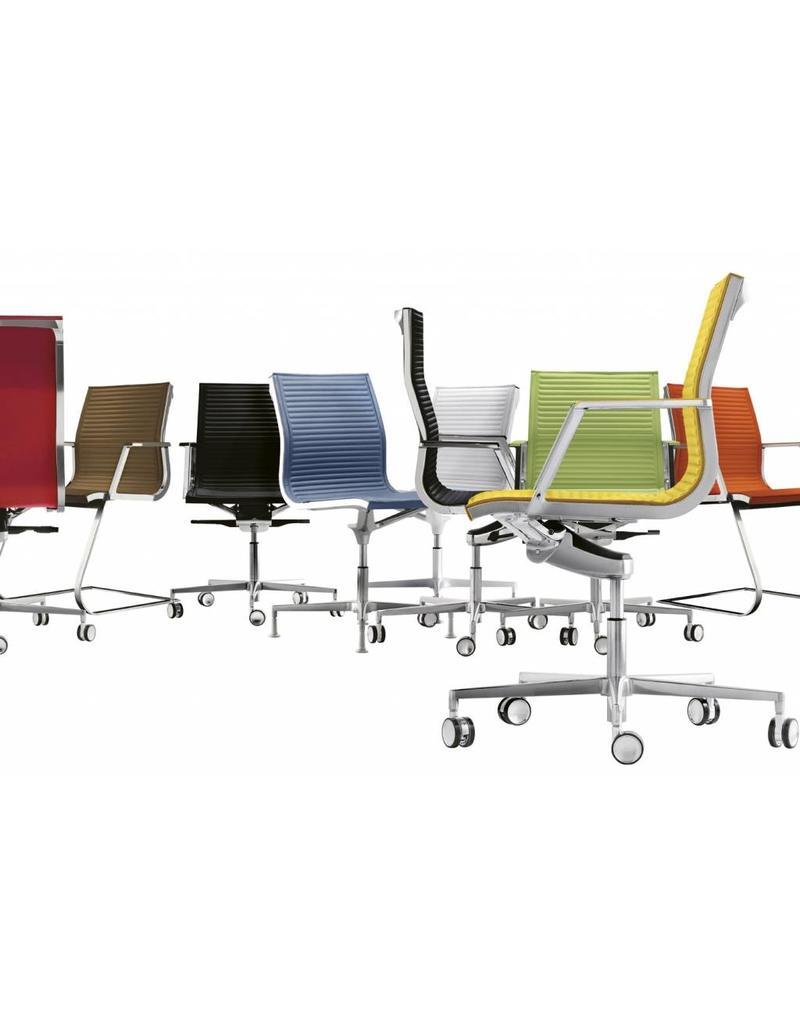 Luxy Luxy Nulite ribbed bezoekersstoel, leer ribbed, chroom
