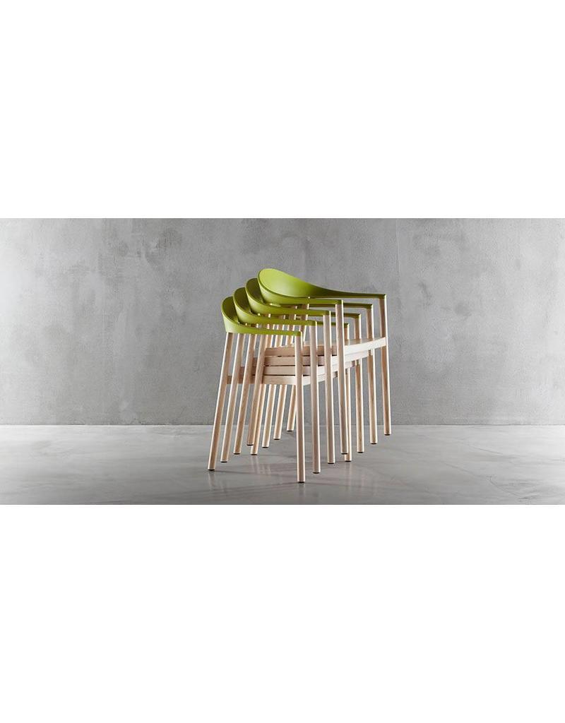 Plank Plank Monza stoel met armleuningen, stapelbaar, koppelbaar