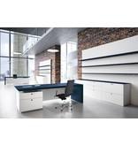 Fantoni Fantoni Multipliceo leren bureau met vast ladeblok