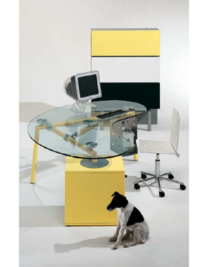 Ultom Ultom Isotta niervormig glazen bureau met vast ladeblok