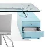 Ultom Ultom Prospero bureau met glazen werkblad en vast ladeblok (3 laden)