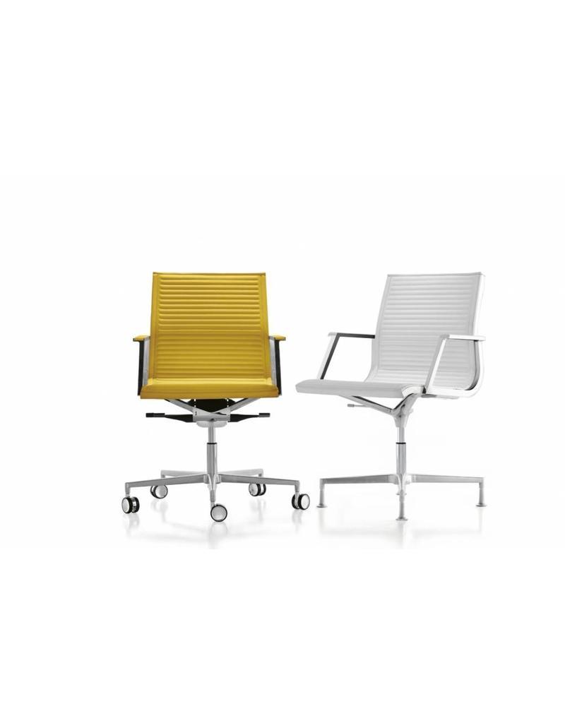 Luxy Luxy Nulite conferentiestoel, leer ribbed, frame chroom