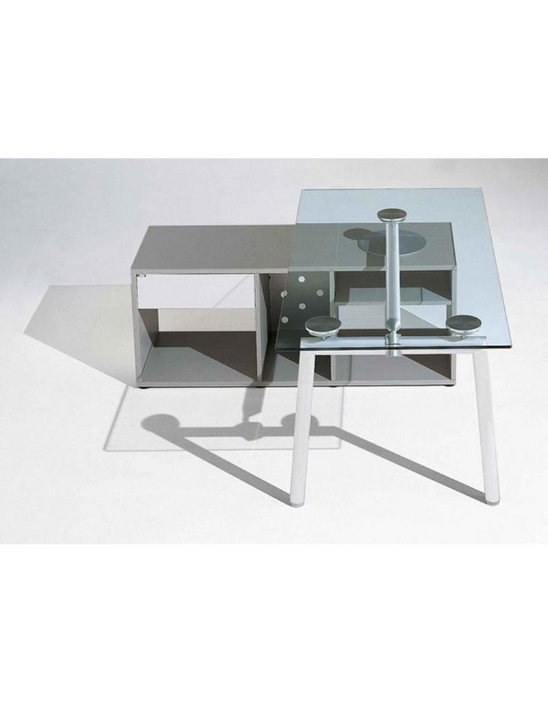 Ultom Ultom Isotta glazen bureau (160 cm) met vast ladeblok