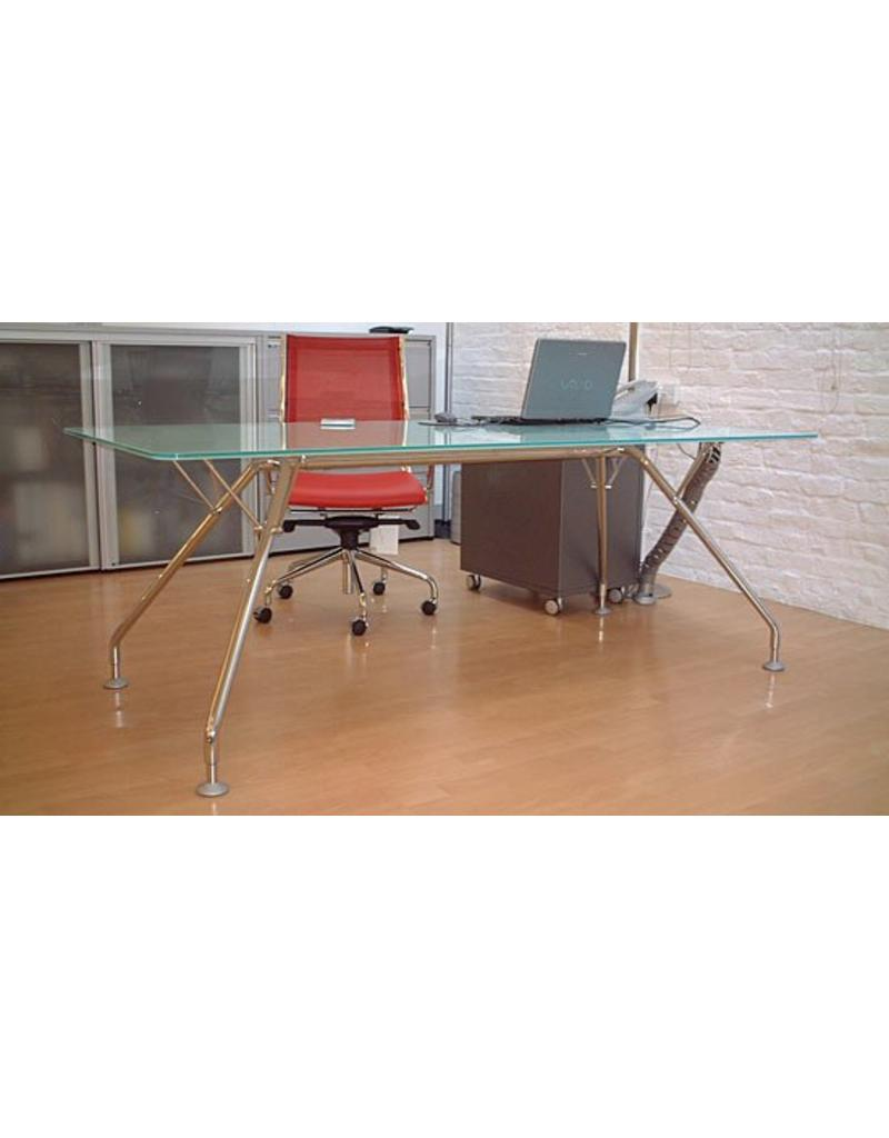 Ultom Ultom Prospero glazen bureau, onderstel aluzilver