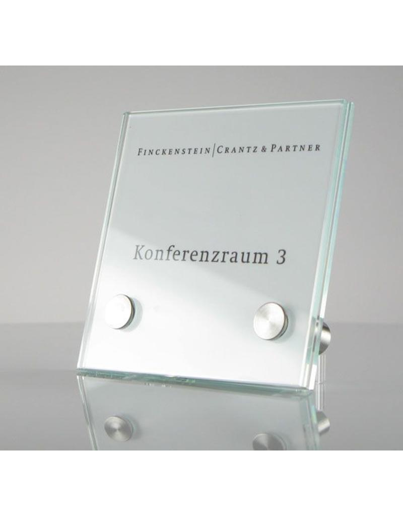 SignSystems SignSystems Cristallo glazen muurbordje 15 cm x 15 cm (2 pootjes)