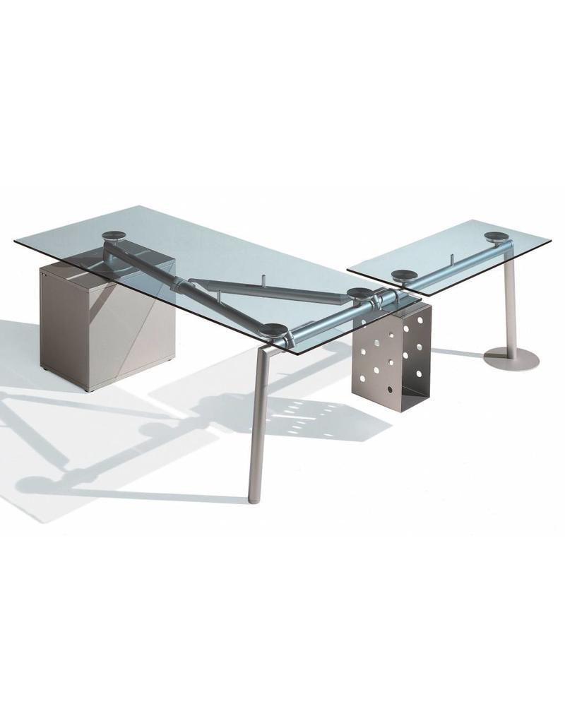 Ultom Ultom Isotta glazen hoek bureau met vast ladeblok