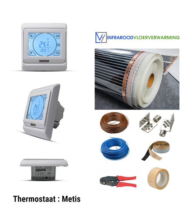 VH Infrarood Vloerverwarming Folie Compleet - 80 Watt/m²  - 100 cm breed