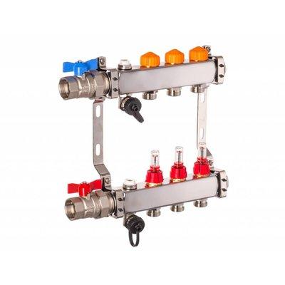 PEFRA Regeltechnik Dyna Heizkreisverteiler für Fußbodenheizung mit 3 Kreisen und automatischer Durchflussregelung inkl. Durchflussmesser