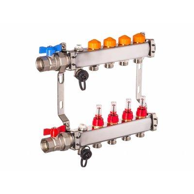 PEFRA Regeltechnik Dyna Heizkreisverteiler für Fußbodenheizung mit 4 Kreisen und automatischer Durchflussregelung inkl. Durchflussmesser