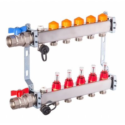 PEFRA Regeltechnik Dyna Heizkreisverteiler für Fußbodenheizung mit 5 Kreisen und automatischer Durchflussregelung inkl. Durchflussmesser