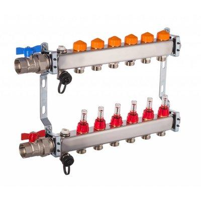 PEFRA Regeltechnik Dyna Heizkreisverteiler für Fußbodenheizung mit 6 Kreisen und automatischer Durchflussregelung inkl. Durchflussmesser