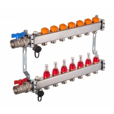 PEFRA Regeltechnik Dyna Heizkreisverteiler für Fußbodenheizung mit 7 Kreisen und automatischer Durchflussregelung inkl. Durchflussmesser