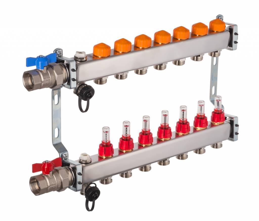 Heizkreisverteiler Mit Automatischer Durchflussregelung Fur 7 Kreise
