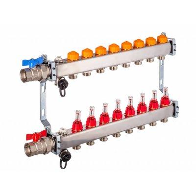 PEFRA Regeltechnik Dyna Heizkreisverteiler für Fußbodenheizung mit 8 Kreisen und automatischer Durchflussregelung inkl. Durchflussmesser