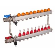 PEFRA Regeltechnik Dyna Heizkreisverteiler für Fußbodenheizung mit 9 Kreisen und automatischer Durchflussregelung