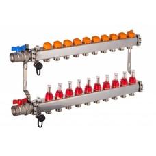 PEFRA Regeltechnik Dyna Heizkreisverteiler für Fußbodenheizung mit 10 Kreisen und automatischer Durchflussregelung