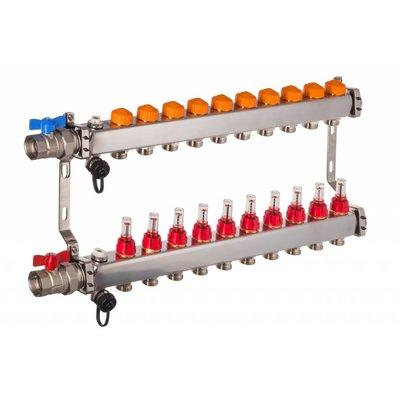 PEFRA Regeltechnik Dyna Heizkreisverteiler für Fußbodenheizung mit 10 Kreisen und automatischer Durchflussregelung inkl. Durchflussmesser