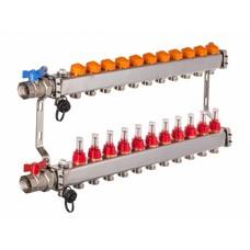 PEFRA Regeltechnik Dyna Heizkreisverteiler für Fußbodenheizung mit 11 Kreisen und automatischer Durchflussregelung