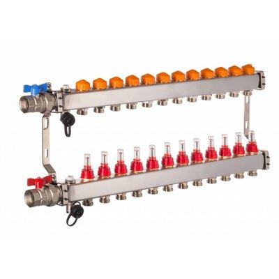 PEFRA Regeltechnik Dyna Heizkreisverteiler für Fußbodenheizung mit 12 Kreisen und automatischer Durchflussregelung inkl. Durchflussmesser