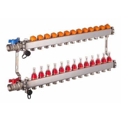 PEFRA Regeltechnik Dyna Heizkreisverteiler für Fußbodenheizung mit 13 Kreisen und automatischer Durchflussregelung inkl. Durchflussmesser