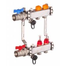 PEFRA Regeltechnik Dyna Heizkreisverteiler für Fußbodenheizung mit 2 Kreisen und automatischer Durchflussregelung