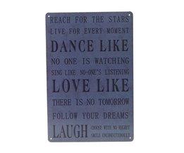 Vintage Dance Love Laugh Wandplaat van Metaal