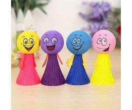 4 Lachende en Springende Poppetjes met Licht