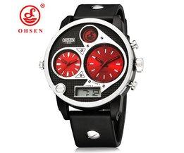 OHSEN AD2806 Horloge Met Twee Wijzerplaten