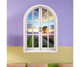 3D Muursticker met Uitzicht op een Lavendel Veld