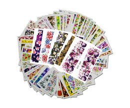 48 stks Gemengde 48 Ontwerpen Bloem Nail Art Volledige Wraps Nail Folies Nail Sticker Decals Water Transfer Manicure Tips STZ352-391 Full Beauty