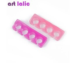 2 Stks/pak Silicone Soft Form Toe Separator/Finger Spacer Voor Manicure Pedicure Nail Tool Flexibele Zachte Silica Willekeurige Kleur Art lalic