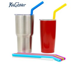 Siliconen Rietjes Mix Kleur Gebogen Food Grade Silicagel Rietjes Anti-choke Herbruikbare Rietjes voor 30 oz Fles w KHGDNOR