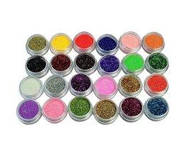 24 Kleuren Nail Glitter Acryl Poeder 3D Tip Nail Art Manicure Gereedschap Nail Art Decoratie Poeder Stof Gem Nail decoratie MyXL