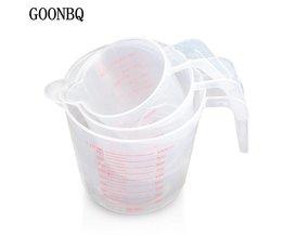 3 stks/set 250/500/1000 ml Maatbeker Plastic Afgestudeerd Vloeibare Maatbekers Koken Bakken Meetinstrument GOONBQ