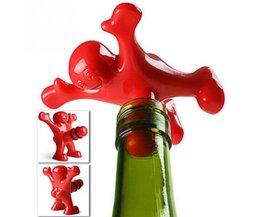 5 stks/partij Plastic Rode gelukkig man Wijnfles Stoppers Keuken Bar Gereedschap fit algemene wijn flessen ANDI