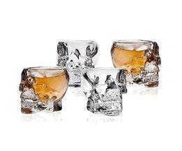 Koop 3D Transparante Creatieve Schedel Borrelglas Kristal Hoofd Cup voor Whiskey Bar Drinken Ware ManCup 4 stks/set E-SHOW