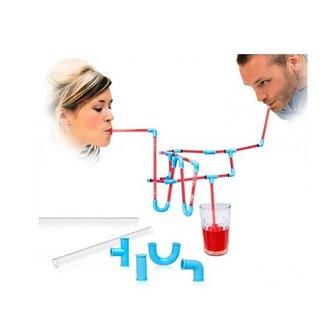 Flexibele DIY Connectible Zuigen Rietjes Buizen Puzzel Toy For Fun Party Drinks TU16638 MyXL