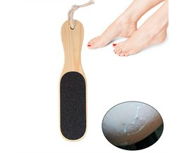 Dubbelzijdig Voetrasp File Eelt Hard Dead Skin Remover Pedicure Scrubber Tool Houten Handvat Pedicure Voetverzorging Tool TMISHION